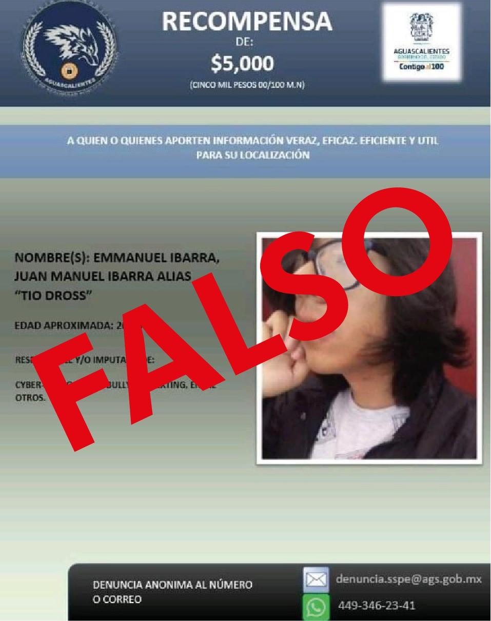 Detectan publicaciones falsas ofreciendo recompensas a nombre de la Secretaría de Seguridad Pública de Aguascalientes