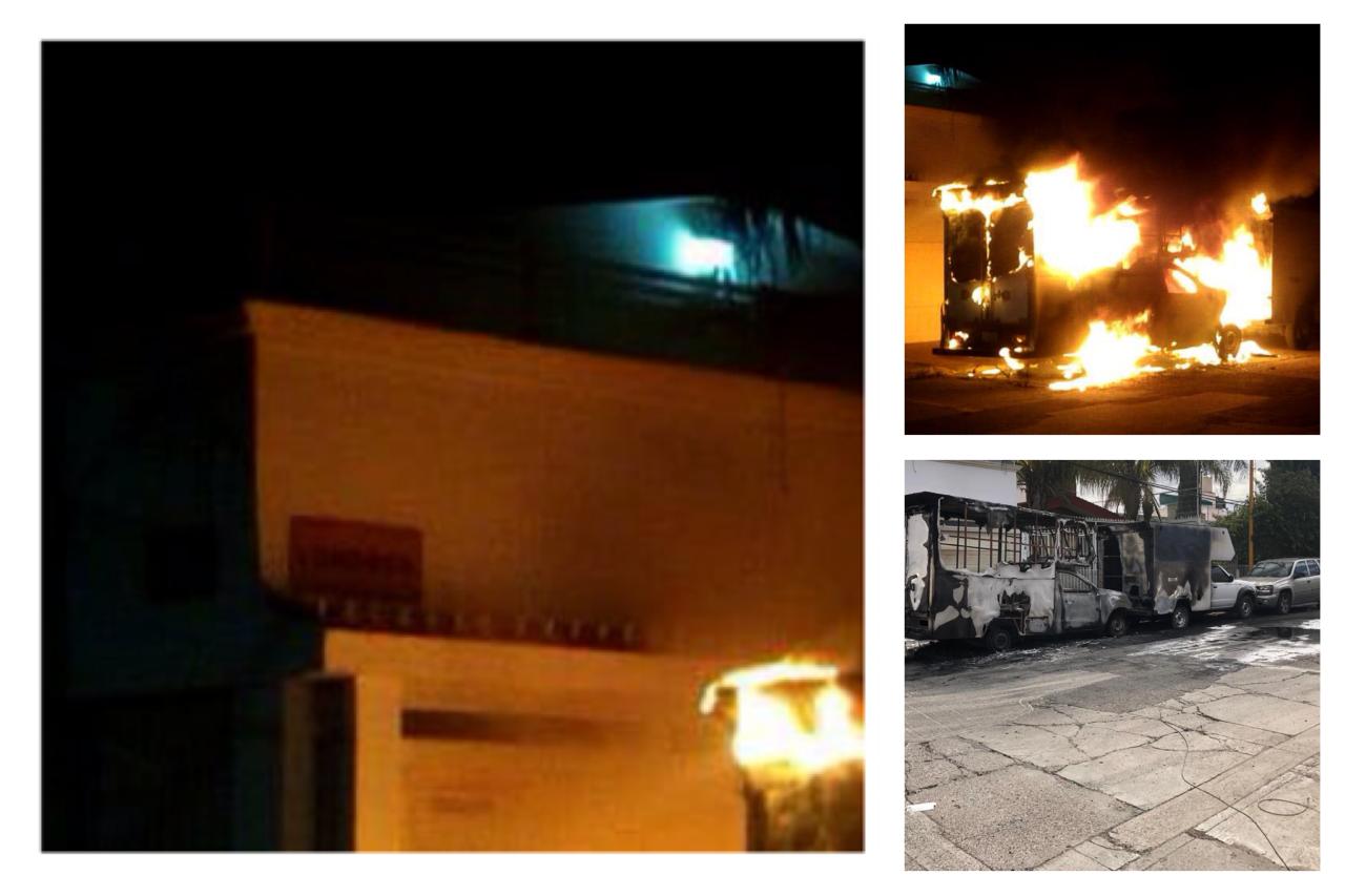 Incendio arrasa con dos camionetas en el fraccionamiento Versalles