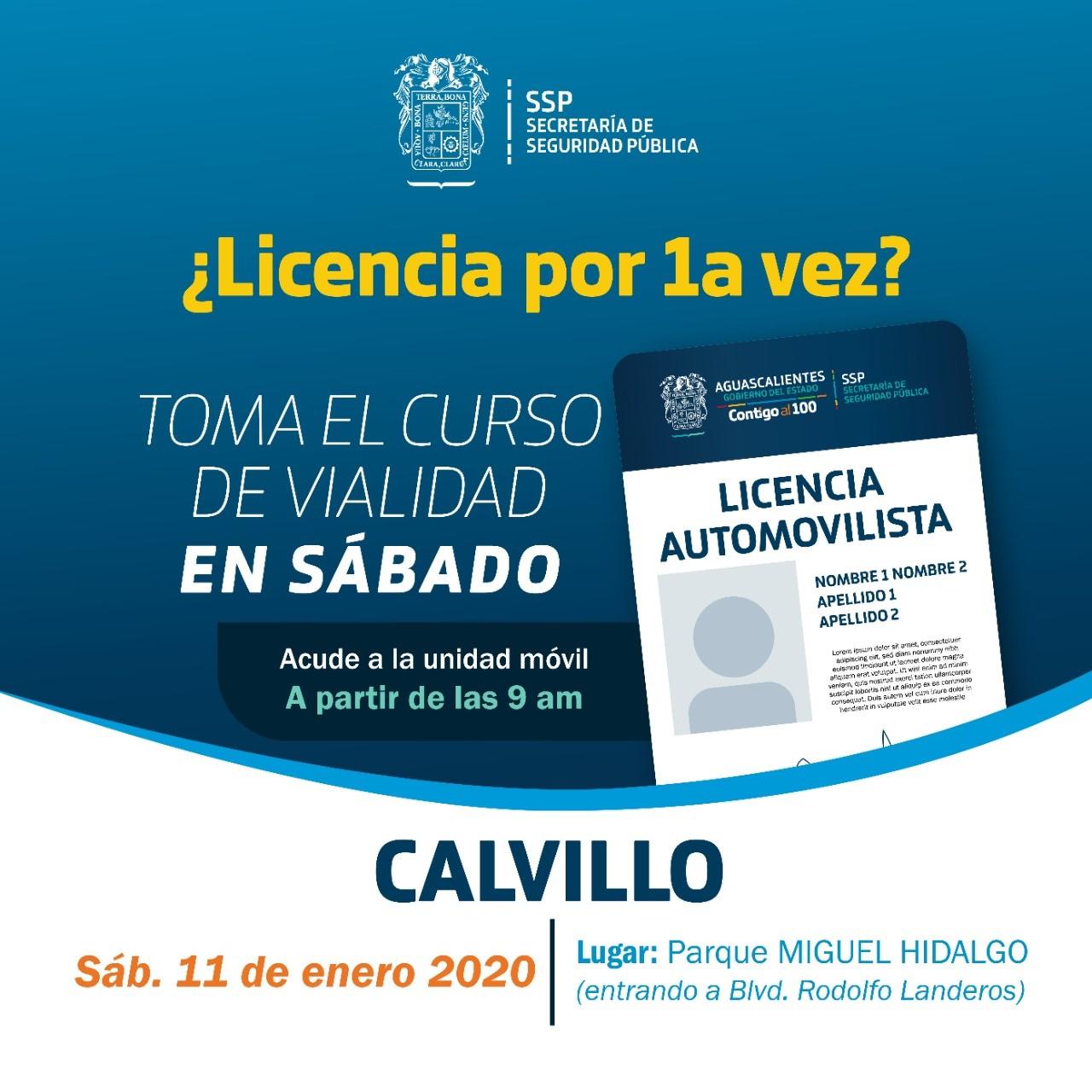 Habrá expedición y renovación de licencias para conducir en Calvillo