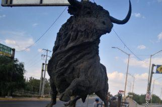 Quita ICA escultura de Toro de Bulevar San Marcos, para encerrarlo en una bodega