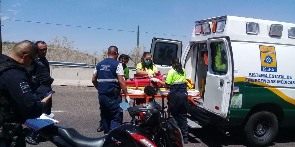 Motociclista quedó lesionado tras caída en San José de Gracia