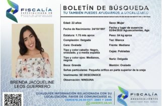 Se busca a Brenda Jacqueline Leos Guerrero en Aguascalientes