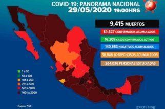Asciende a 9 mil 415 la cifra de muertos por Covid-19 en México