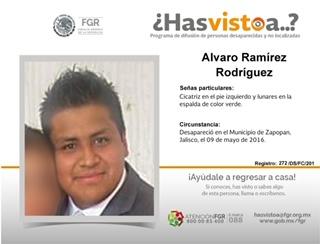 Alvaro desapareció en Jalisco, lo buscan en Aguascalientes