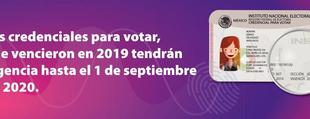 Credenciales para votar 2019 tendrán vigencia hasta septiembre de 2020