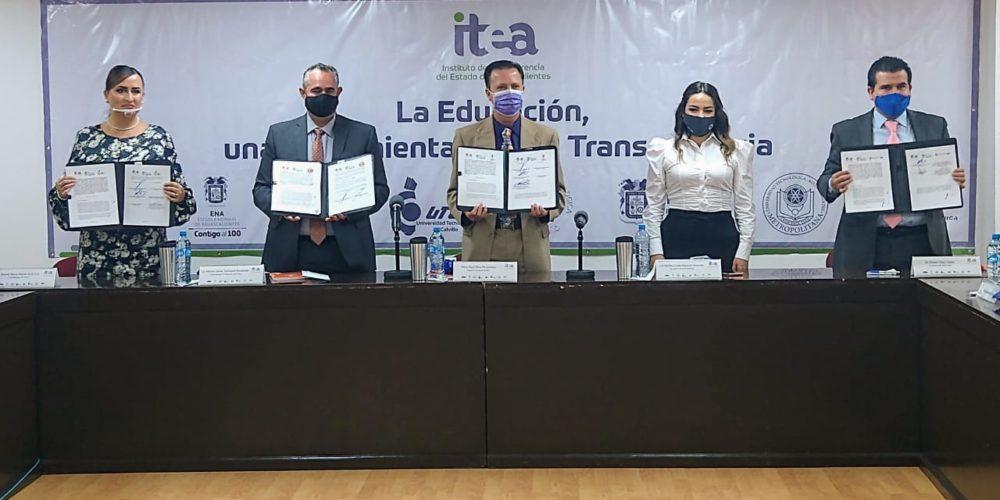 Firman convenio ITEA y universidades públicas de Aguascalientes