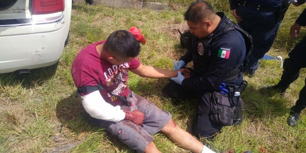 Sujeto disparó a policías estatales y resultó herido