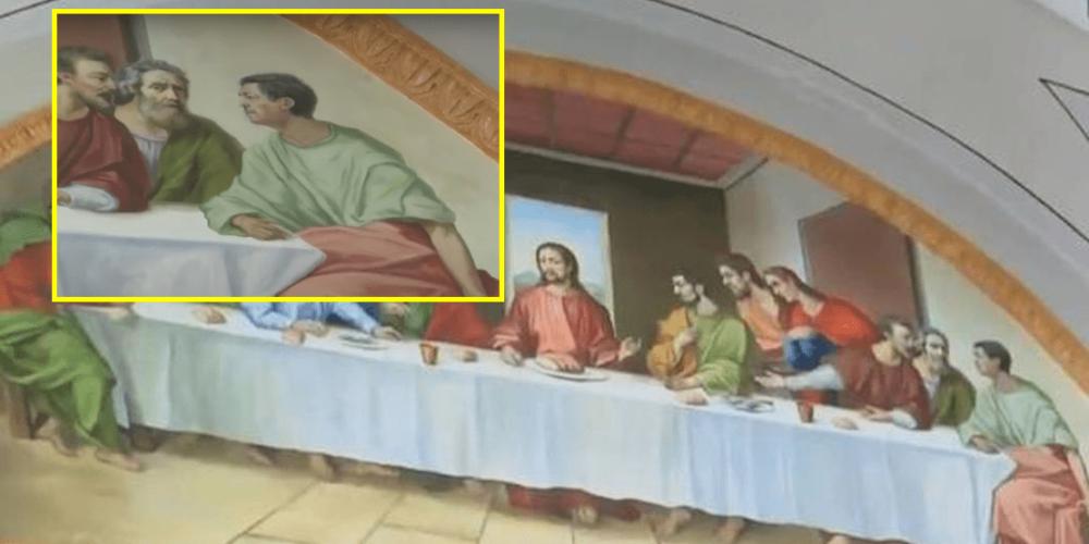 Sacerdote pintó su rostro en cuadro de la última Cena