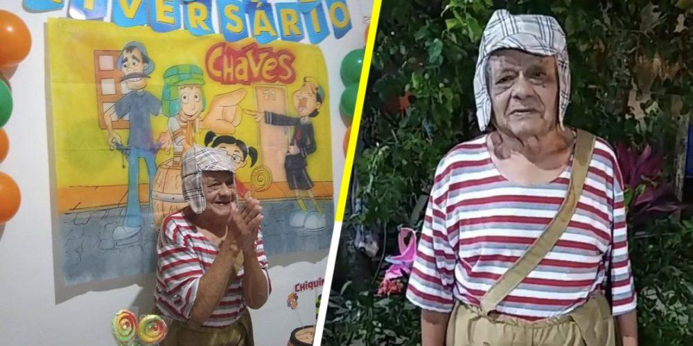 Familia organiza fiesta de 'El Chavo del Ocho' a su abuelito de 92 años