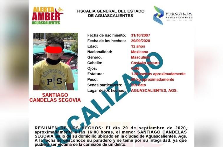 Localizan a menor extraviado en Aguascalientes