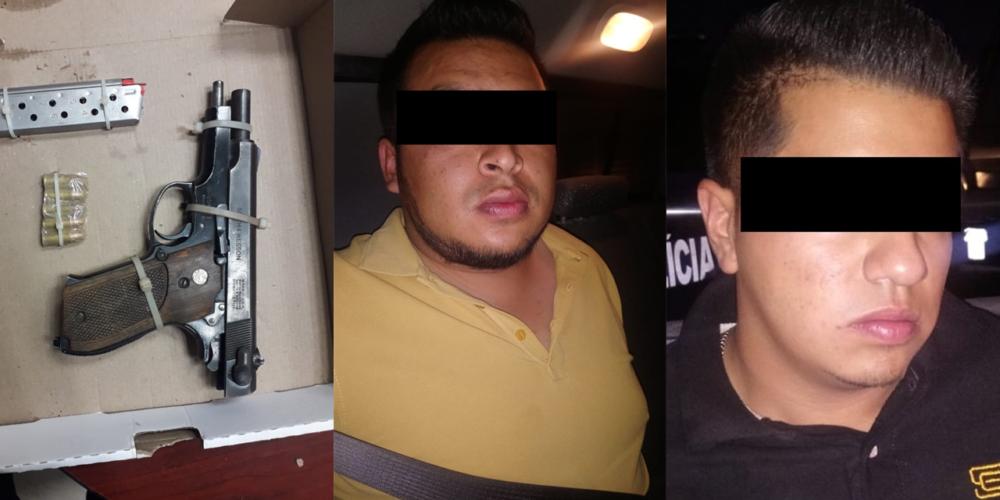 Detienen a tres sujetos por portar un arma y drogas en Aguascalientes