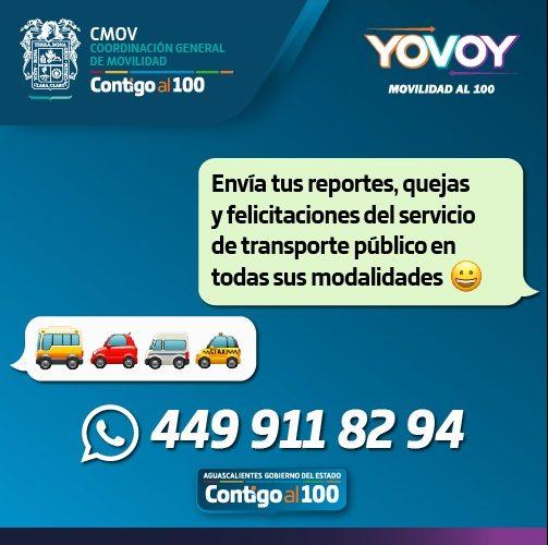 CMOV atenderá por WhatsApp reportes de transporte público