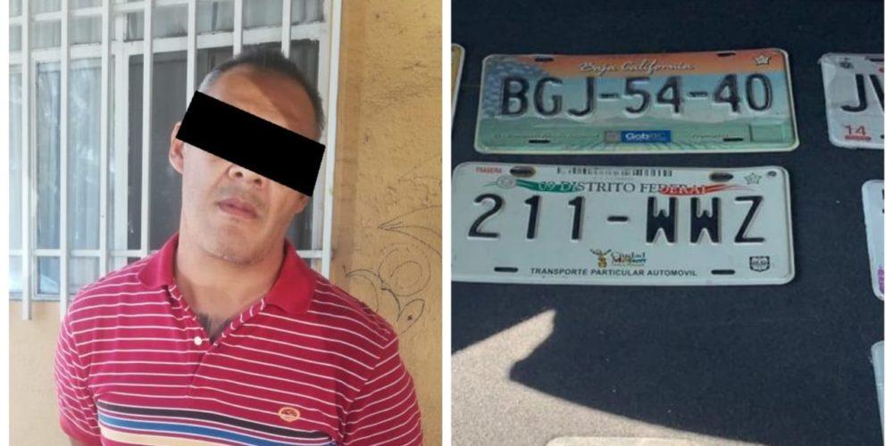Fue detenido un sujeto en posesión de varios juegos de placas