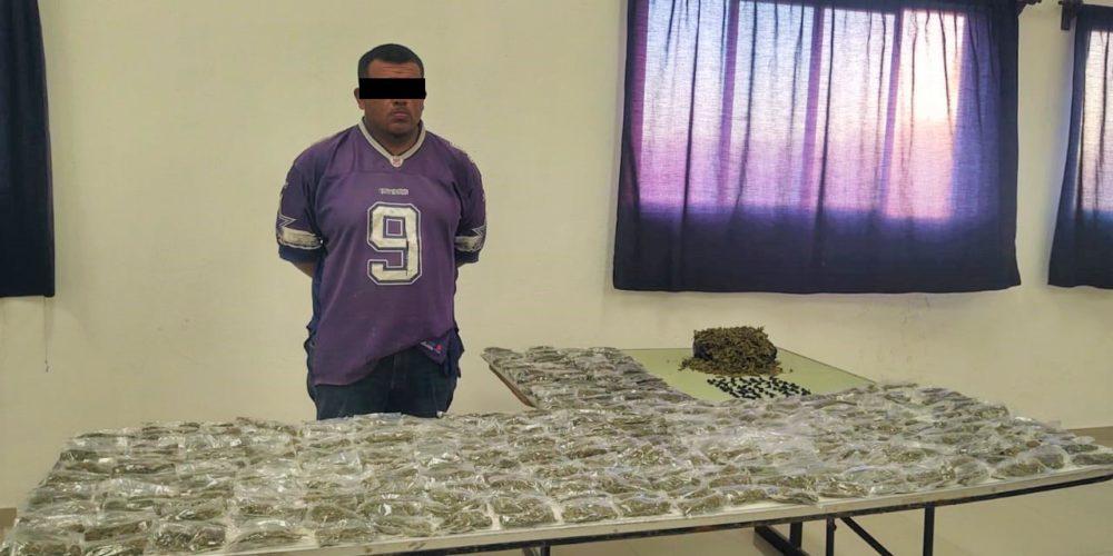 Cae sujeto con 4 kilos de marihuana y 80 envoltorios de crystal en Aguascalientes