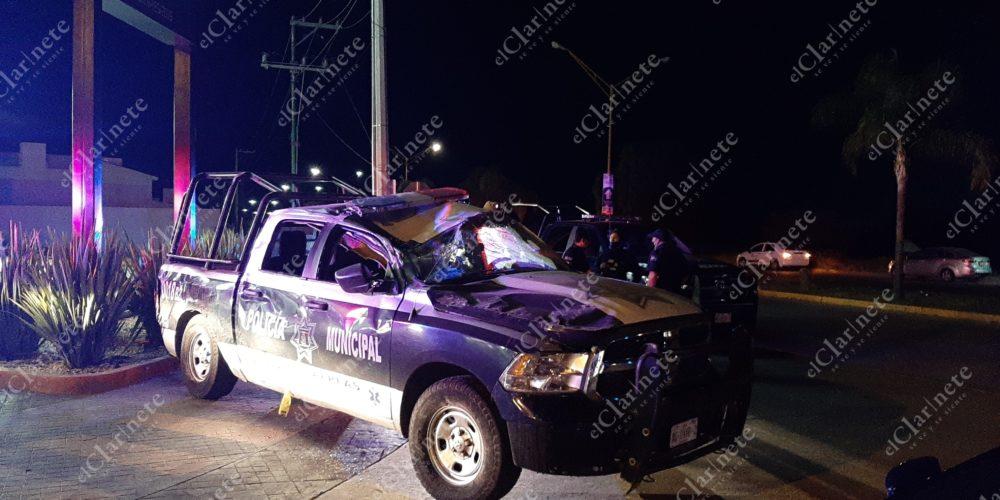 Policía municipal resulta herido tras volcar su patrulla en Aguascalientes