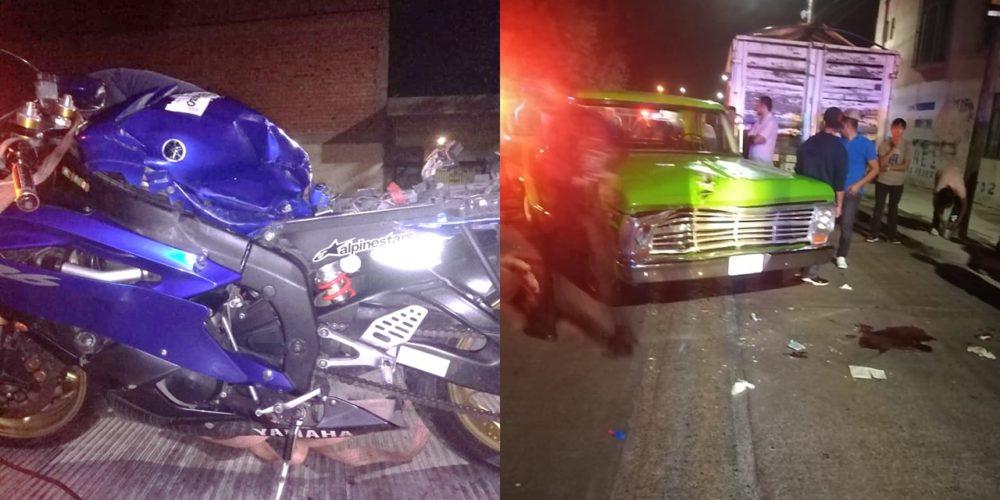 Conductor choca a motociclista y lo deja herido