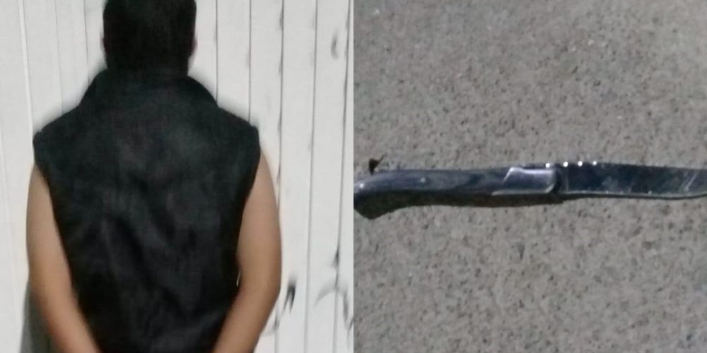 Detienen a Luis por amenazar a un policía con un cuchillo