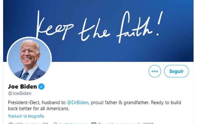 Joe Biden gana presidencia de Estados Unidos y cambia su  perfil de Twitter