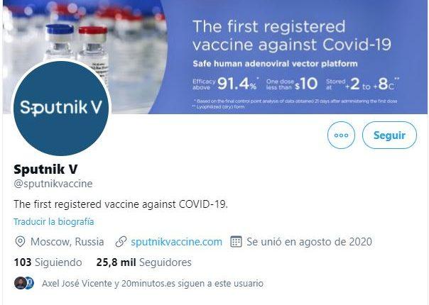 Twitter suspende temporalmente cuenta de vacuna rusa Sputnik V