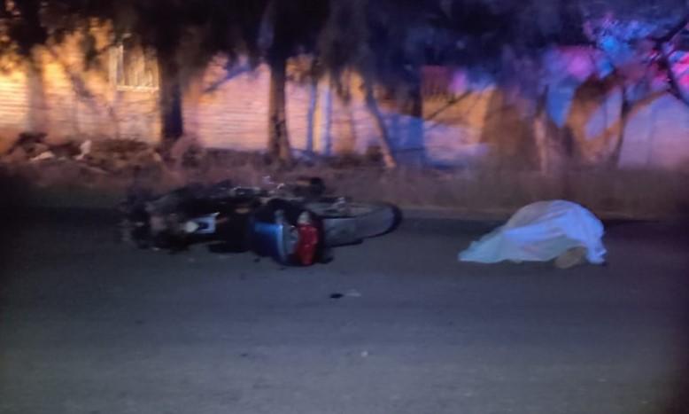 Iban en moto, se les cruzó un caballo en Rincón de Romos; 1 muerto y 1 herido