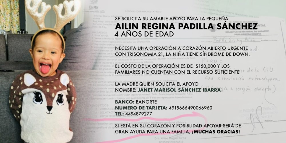 Piden apoyo para costear operación de Ailin Regina