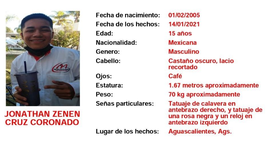 Buscan al joven Jonathan Zenen en Aguascalientes