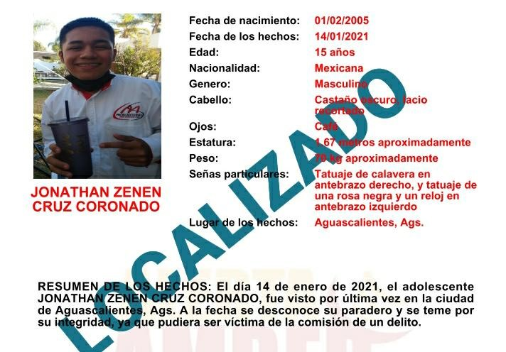 Localizan en CDMX a joven extraviado en Aguascalientes