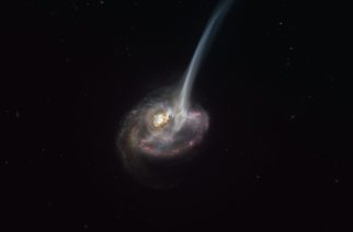 "This artist's impression of ID2299 shows the galaxy, the product of a galactic collision, and some of its gas being ejected by a ""tidal tail"" as a result of the merger. New observations made with ALMA, in which ESO is a partner, have captured the earliest stages of this ejection, before the gas reached the very large scales depicted in this artist's impression."