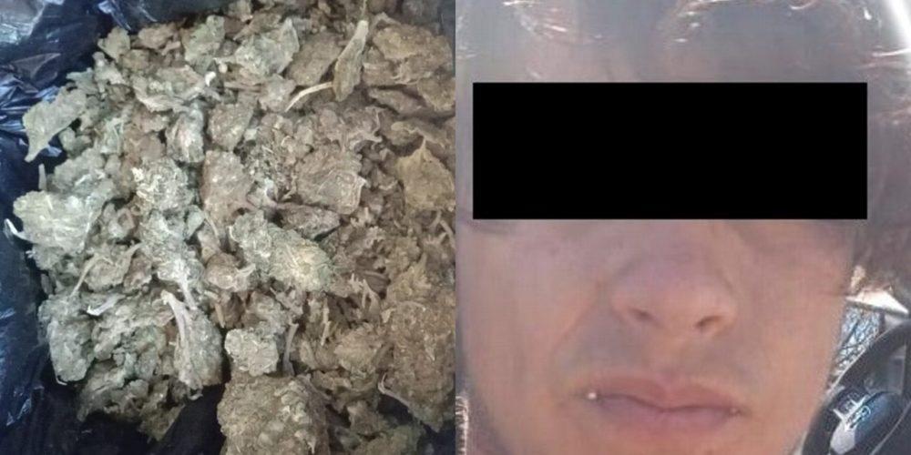 Aseguran a Octavio con 250 gramos de marihuana en Calvillo