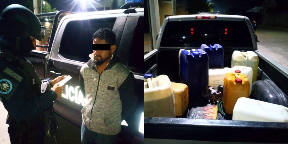 Capturan a sujeto que transportaba 200 litros de huachicol en Aguascalientes