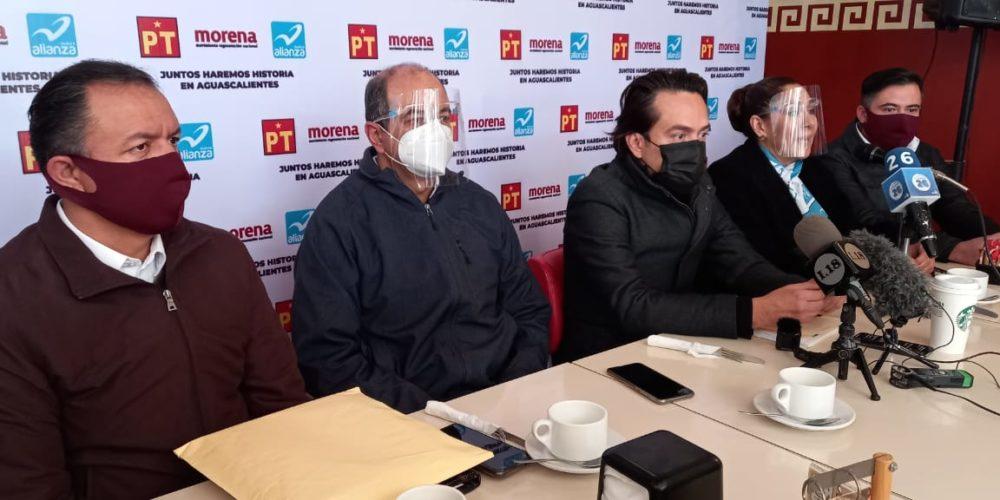Con ausencia de dirigentes locales presentan alianza Morena-PT-Panal