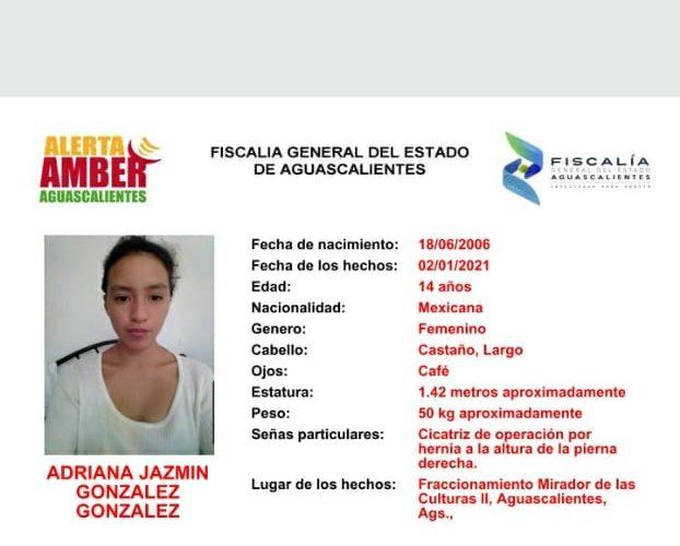 Emiten alerta de búsqueda por la menor Jazmín González