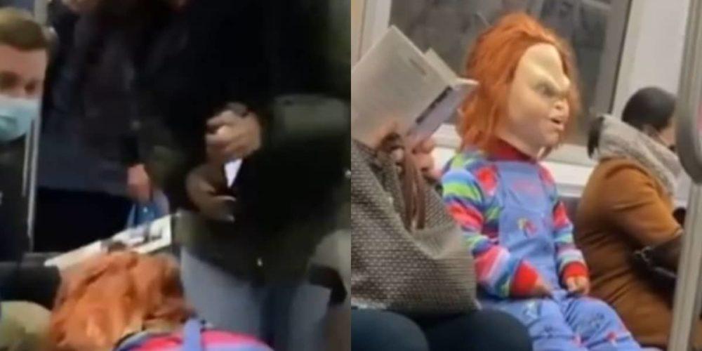 """(VIDEO) """"Chucky"""" ataca a quienes no usan cubrebocas en el metro de Nueva York"""