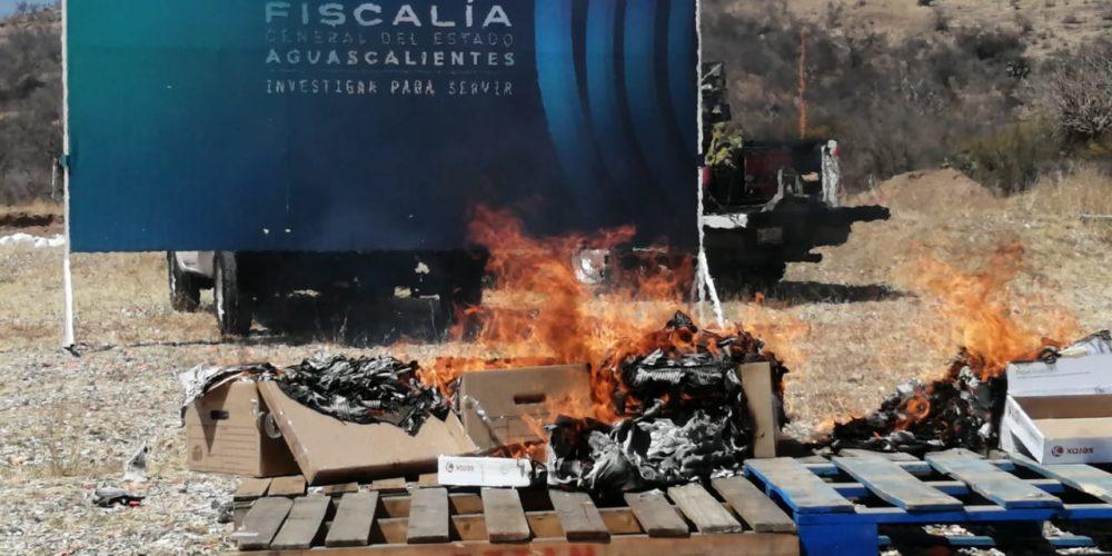 Incineran más de 19 mil dosis de narcóticos asegurados en Aguascalientes