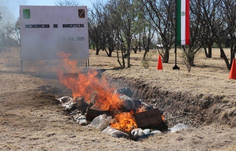 Incineran casi una tonelada de narcóticos en Aguascalientes