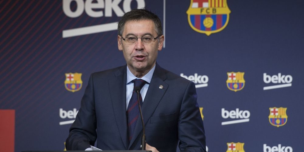 BARCELONA, SPAIN - FEBRUARY 15: FC Barcelona's Chairman Josep Maria Bartomeu and Vice president of the Koc Holding administration council Ali Koc (not seen) hold a joint press conference as Barcelona FC and Beko announce a sponsorship agreement, at Camp Nou Auditorium 1899 in Barcelona, Spain on February 15, 2018. (Photo by Lola Bou/Anadolu Agency/Getty Images)