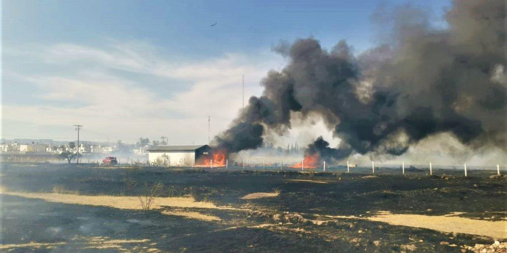 Sofocan fuerte incendio de pasto seco en la colonia San Ignacio