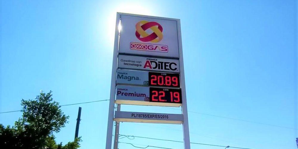 Gasolina rebasa la barrera de los 22 pesos por litro en Aguascalientes