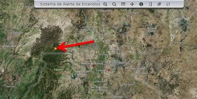 En Alerta Aguascalientes por incendio forestal en Villanueva, Zacatecas