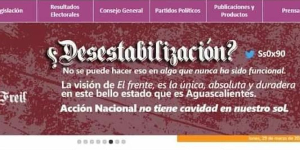 Vuelven a hackear página del IEE en Aguascalientes