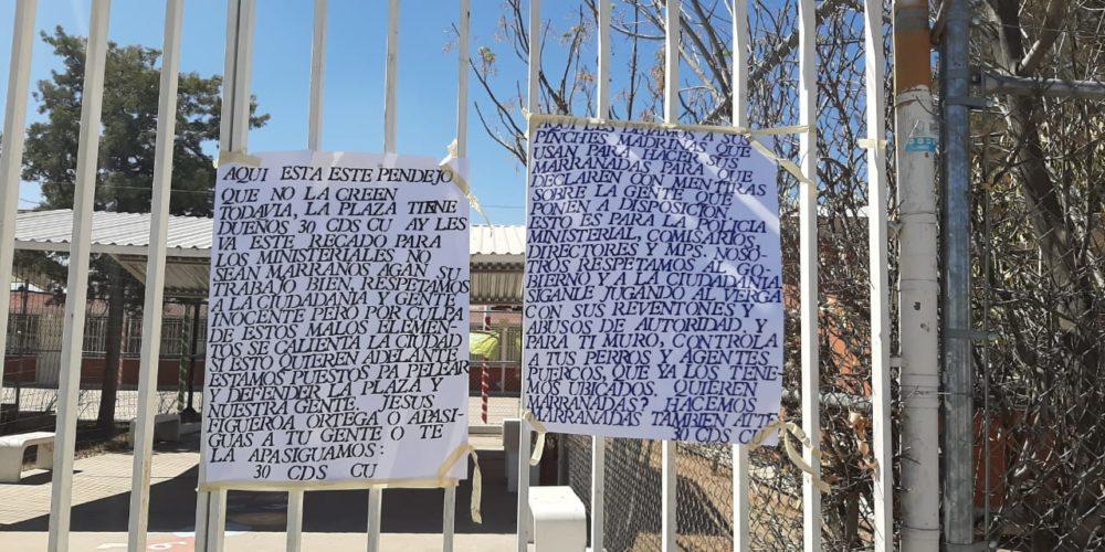 Tras ejecución cuelgan narcomantas en Aguascalientes