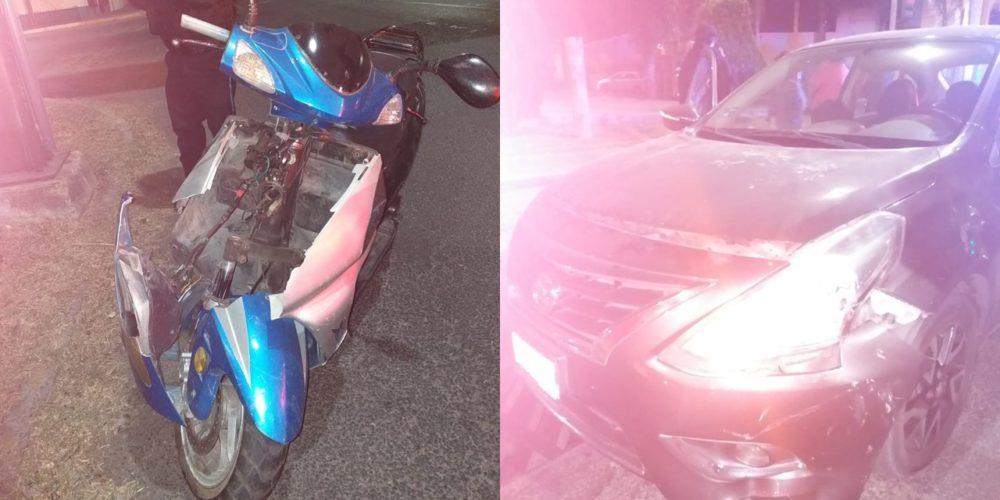 Ebrio motociclista se pasa el alto y choca contra un vehículo