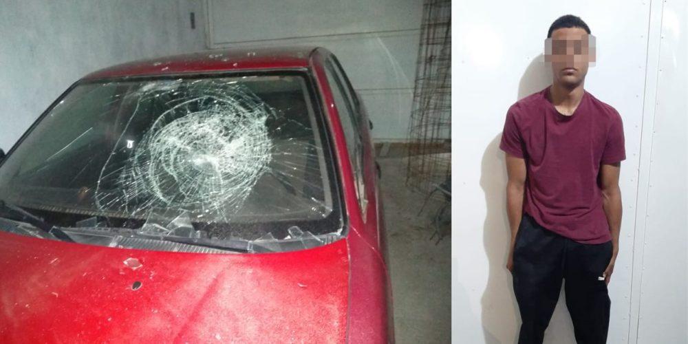 Detienen a sujeto acusado de dañar un vehículo en San Jerónimo