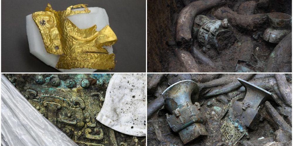 Hallan misteriosa máscara de oro y otras reliquias en China