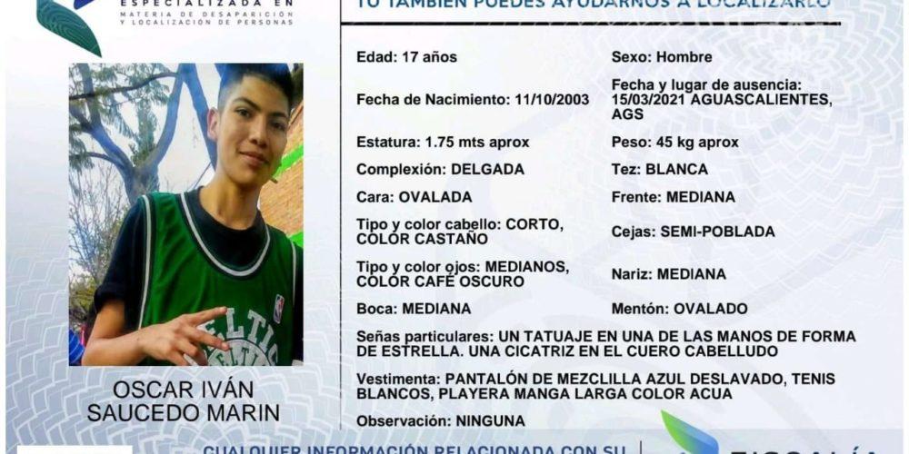 Piden apoyo para localizar a Oscar Iván Saucedo Marín