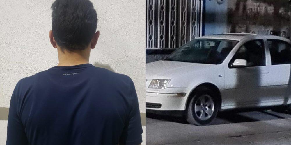 Sujeto intentó darse a la fuga en un vehículo robado en la colonia Constitución