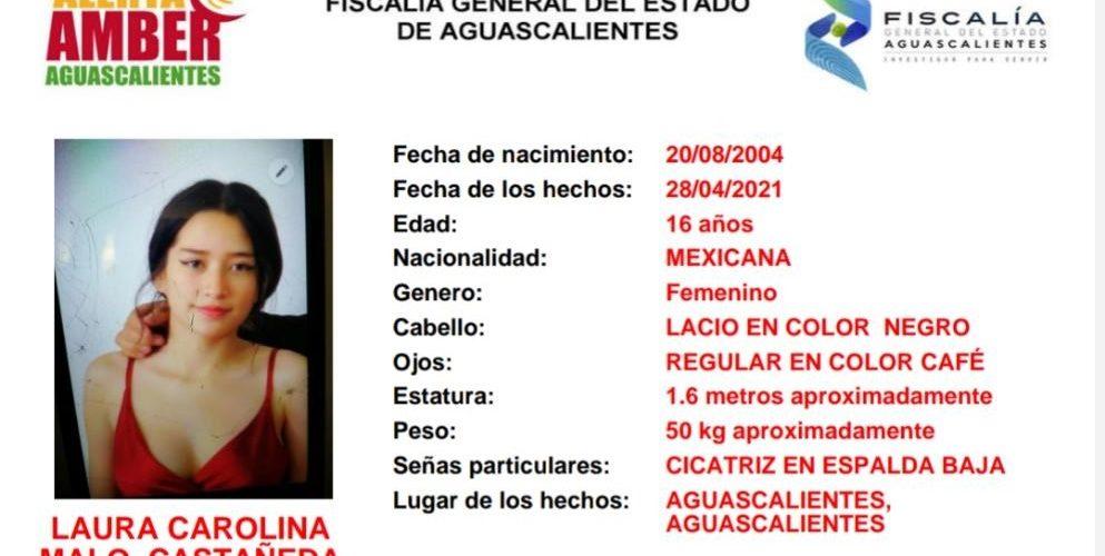 Buscan a adolescente de 16 años extraviada en Aguascalientes
