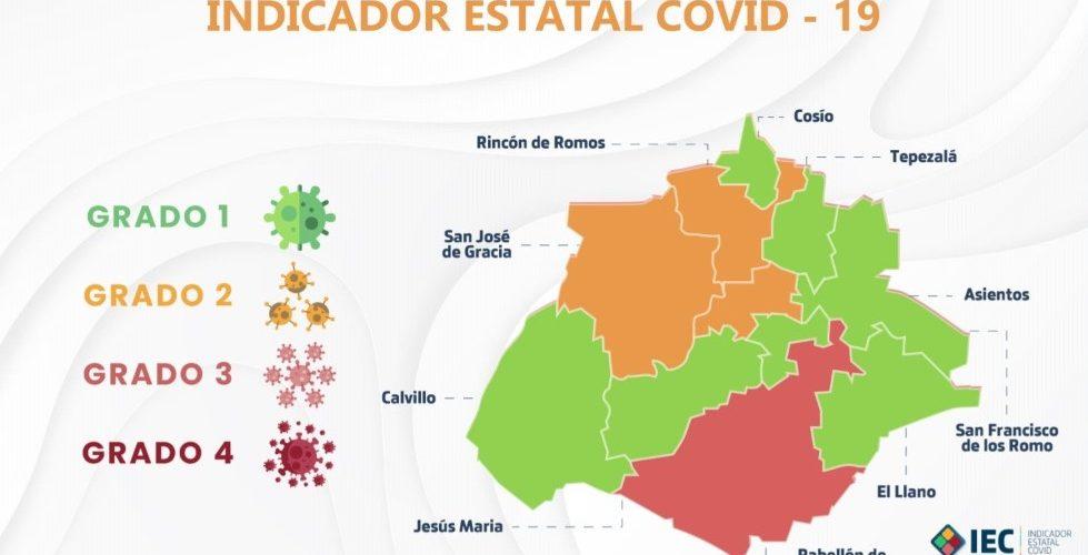 Covid-19: Otro municipio de Aguascalientes pasa al color naranja. Quedan 7 en semáforo verde
