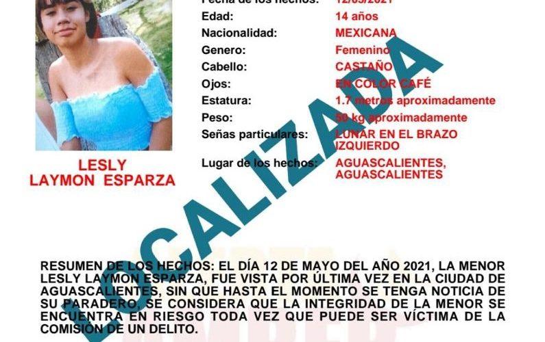 Localizan a menor desaparecida en Aguascalientes