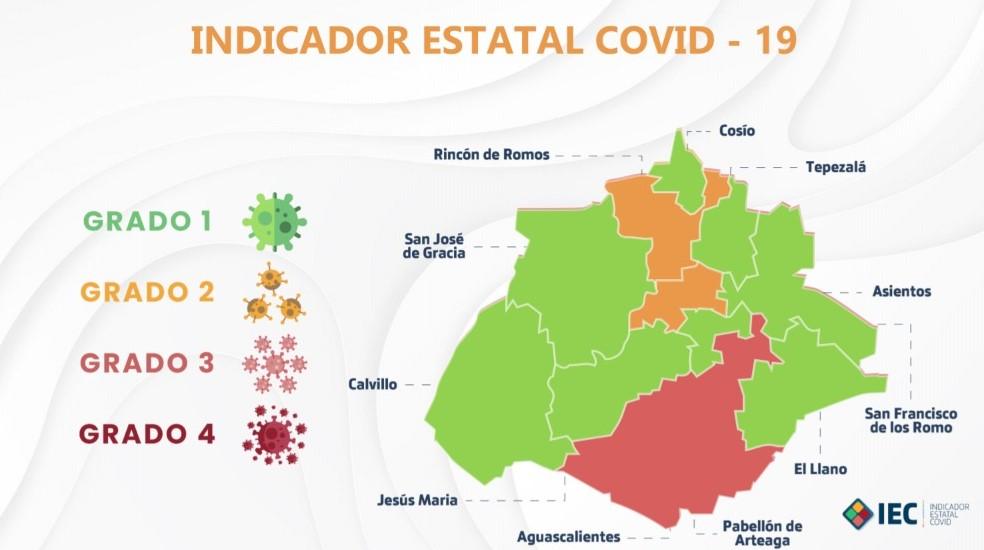 Solo faltan 3 municipios de Aguascalientes en pasar al color verde